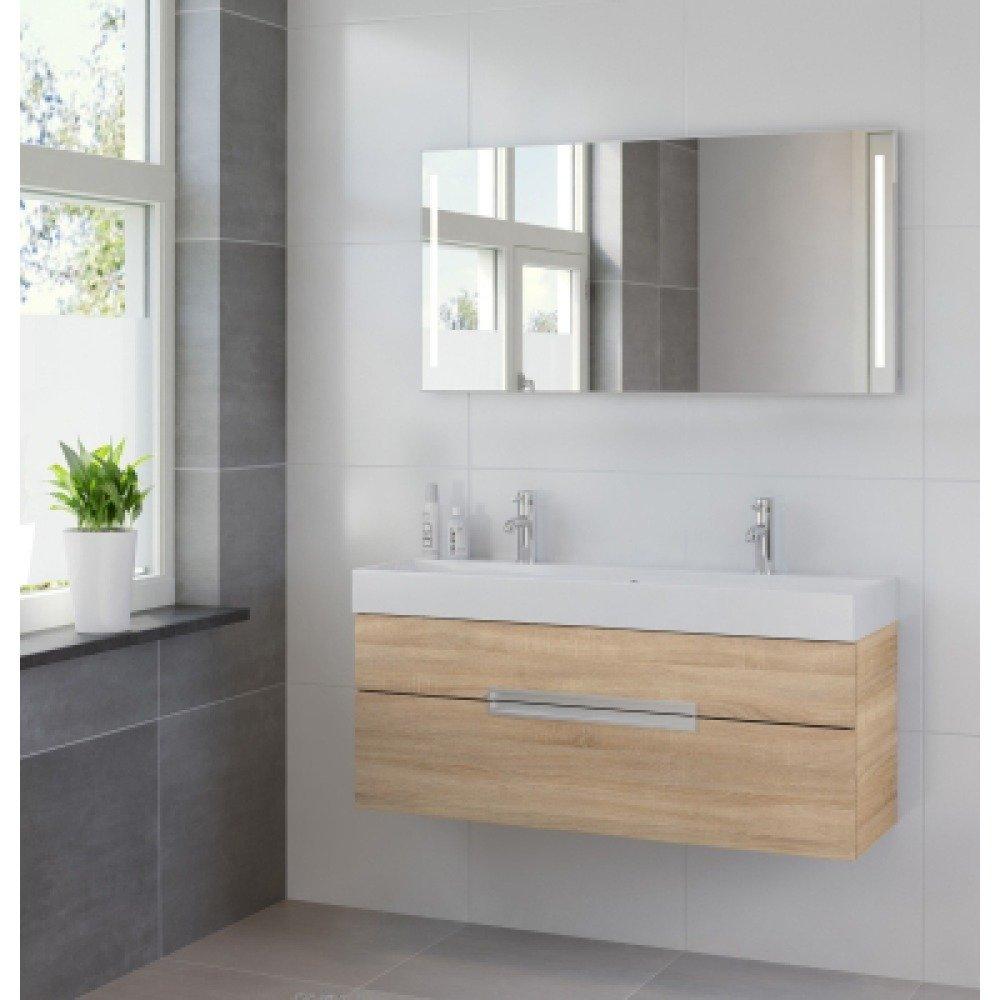 Bruynzeel Mino 120 cm bardolino badkamermeubel 2 kraangaten met spiegel