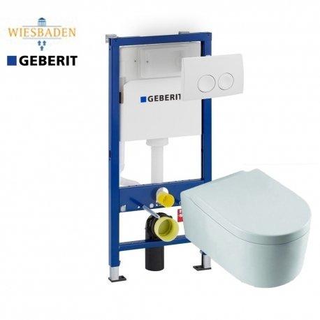 Complete Geberit UP100 set met Wiesbaden Arco en Delta drukplaat