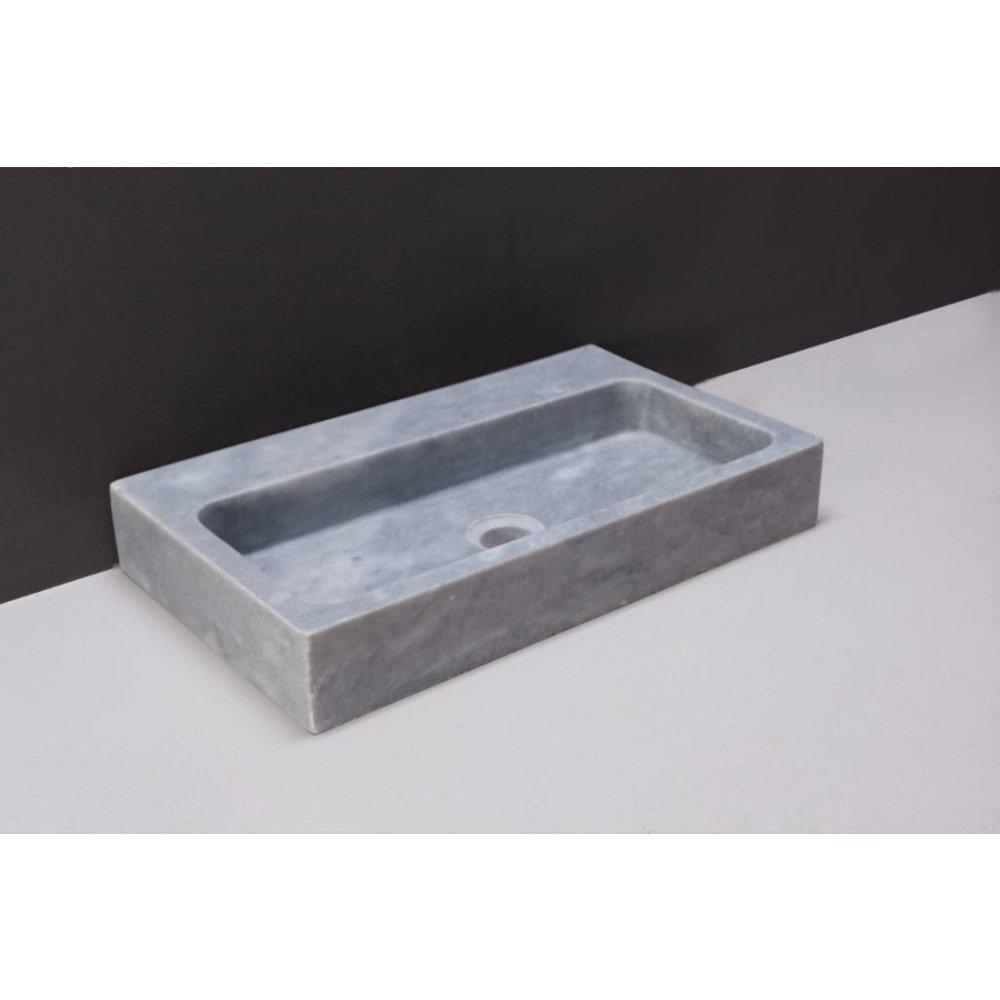 Forzalaqua Taranto wastafel 50x30x8cm RECHTHOEK 1 wasbak Marmer gezoet blauw wit