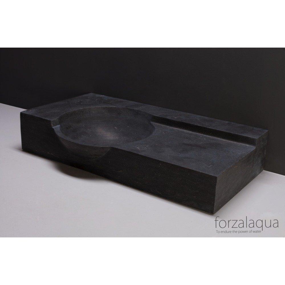 Forzalaqua Laguna wastafel 80x40x12cm RECHTHOEK 1 wasbak 1 kraangat Hardsteen gezoet Blauw grijs