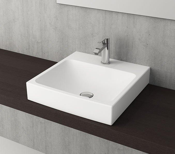 Productafbeelding van Bocchi Scala Arch 48x48cm design wastafel 1x kraangat mat wit