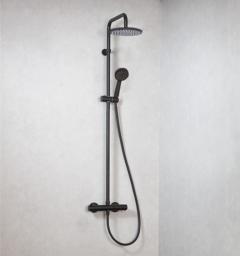 Xenz Duero regendouche met handdouche thermostatisch mat zwart coating
