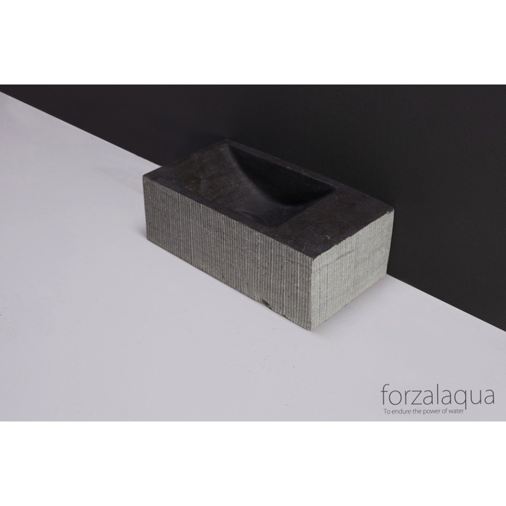 Forzalaqua Venetia XS fontein 29x16cm links Hardsteen gefrijnd