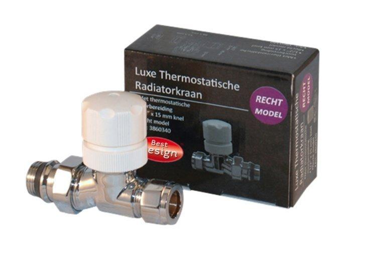 Best Design Luxe Thermostatische Radiatorkraan Recht Chroom
