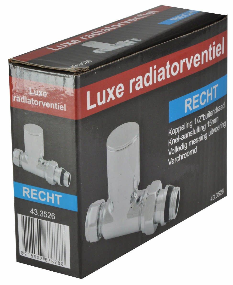 Riko Luxe Radiatorventiel Knel Recht Chroom