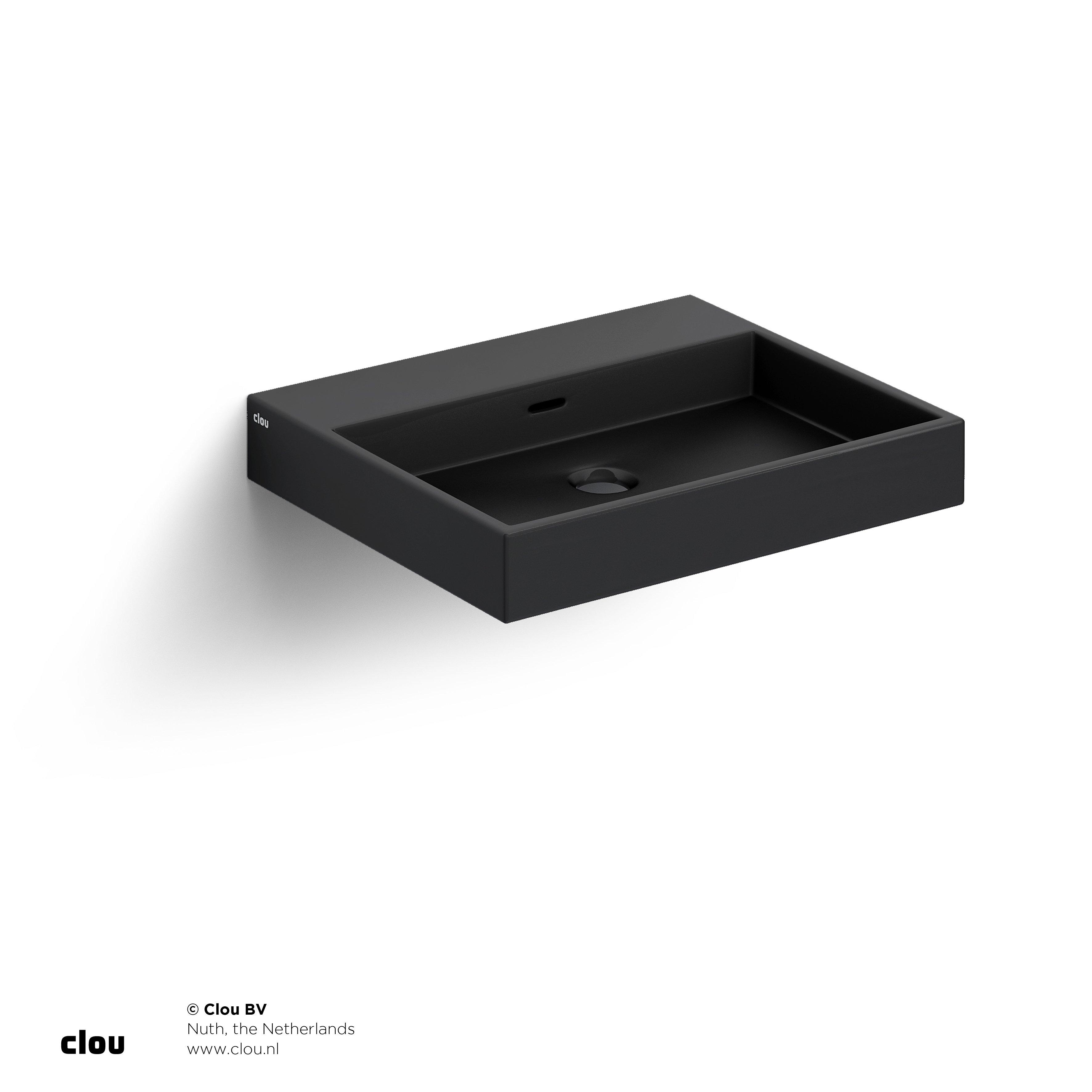 Clou Wash Me wastafel 50cm, zonder plug, mat zwart keramiek