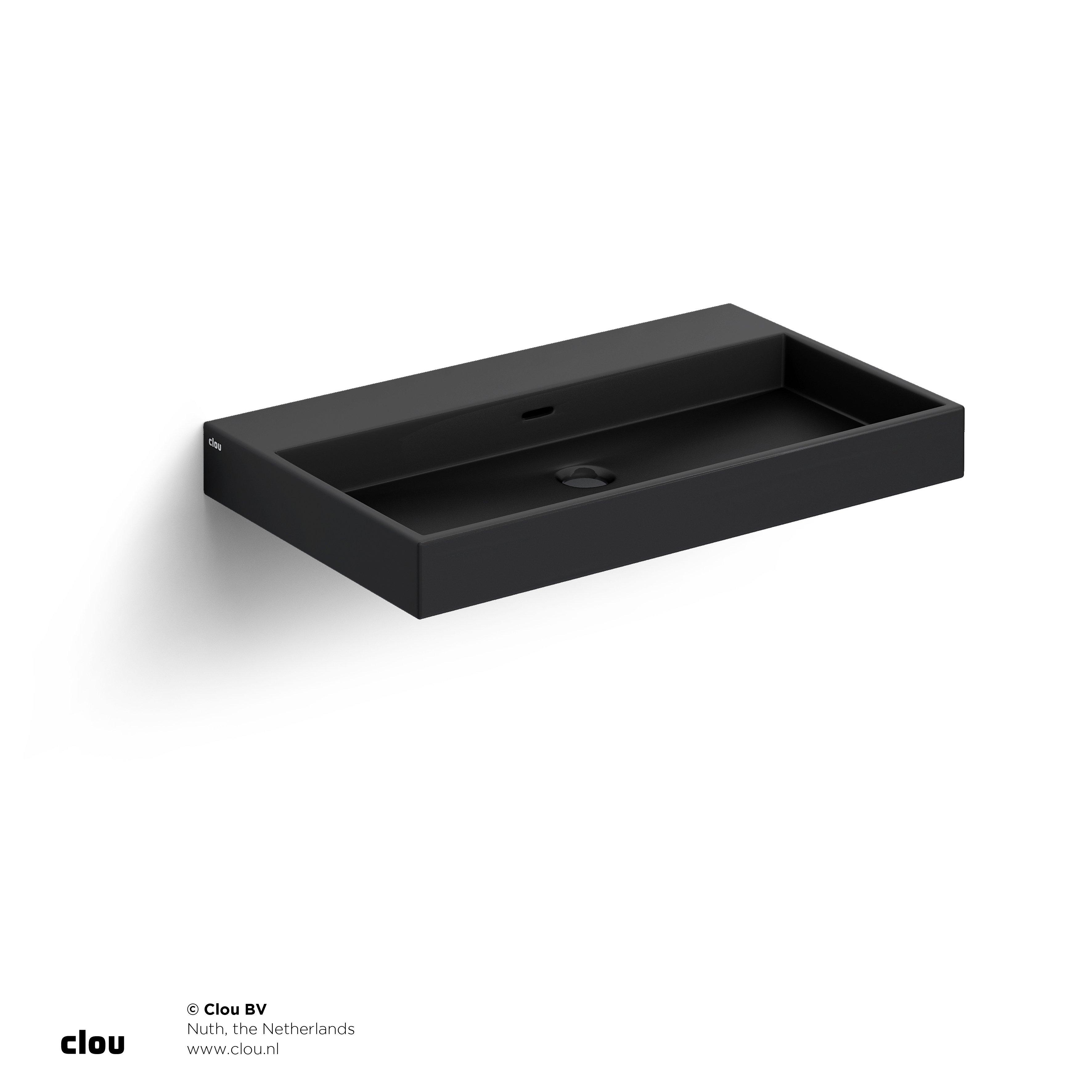 Clou Wash Me wastafel 70cm, zonder plug, mat zwart keramiek
