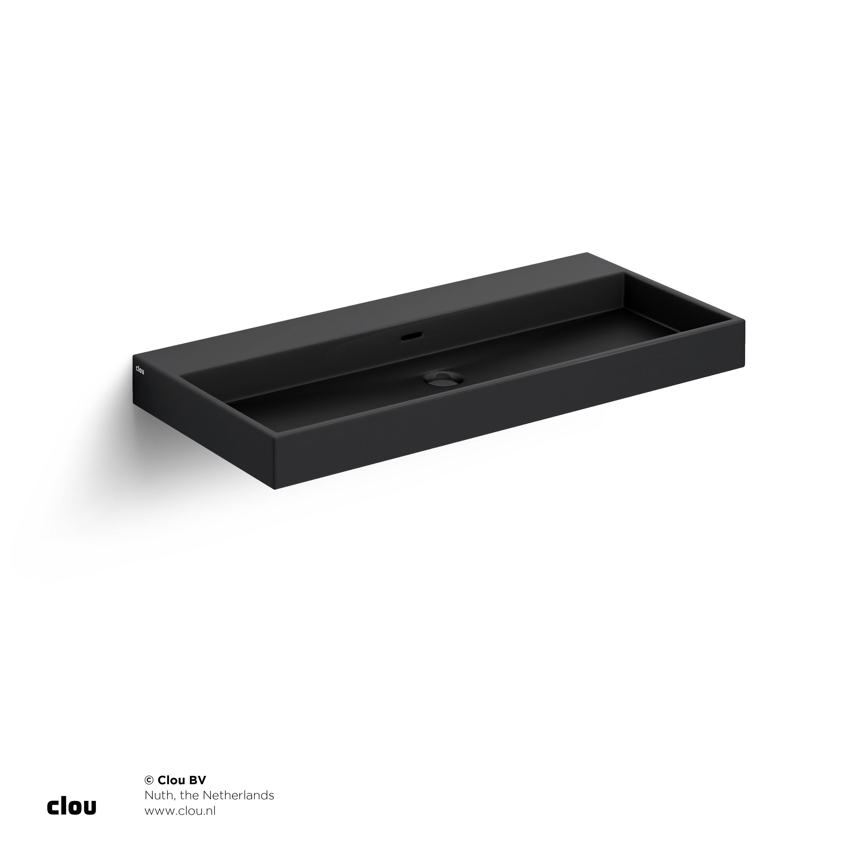 Clou Wash Me wastafel 90cm, zonder plug, mat zwart keramiek