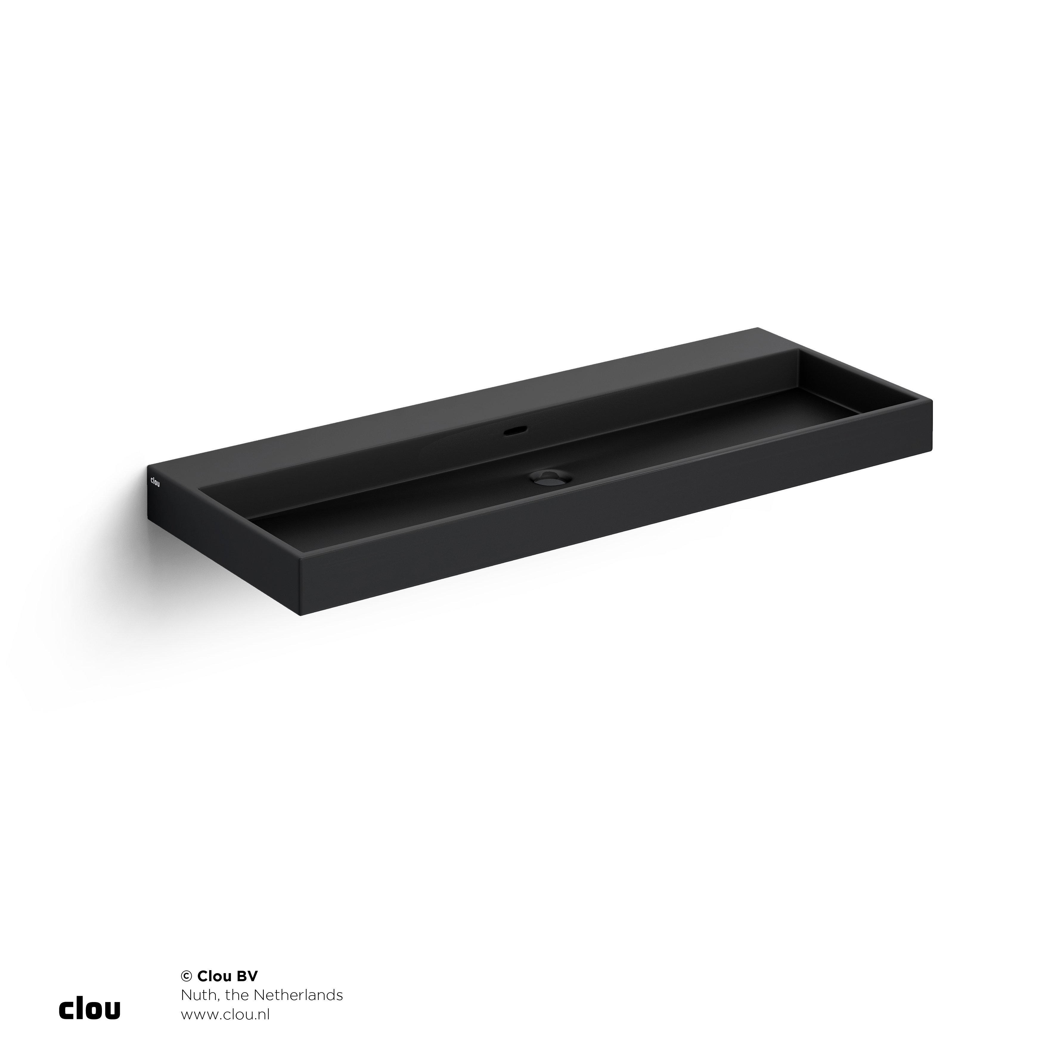 Clou Wash Me wastafel 110cm, zonder plug, mat zwart keramiek