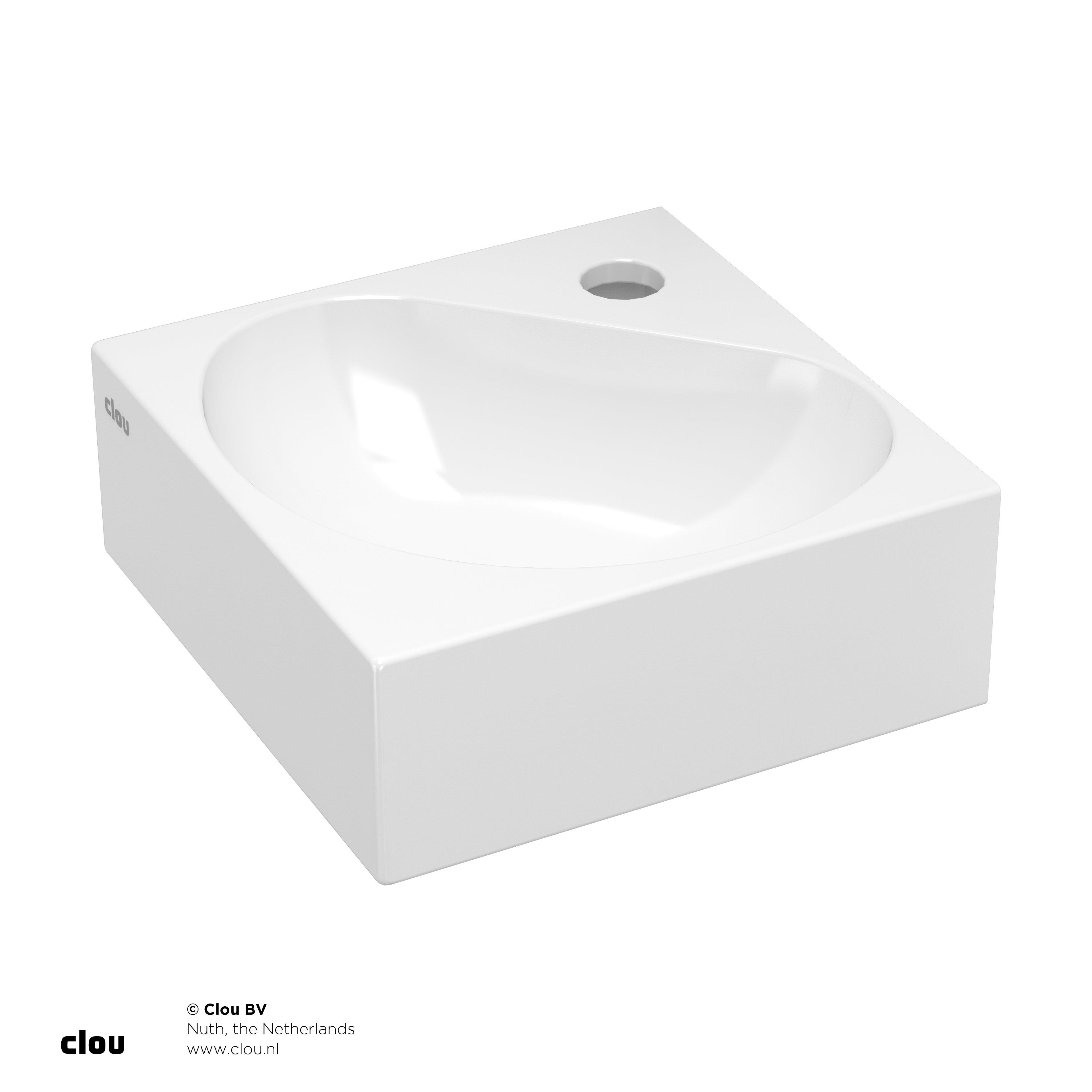 Clou Flush 5 hoekfontein 27cm, met kraangat, wit keramiek