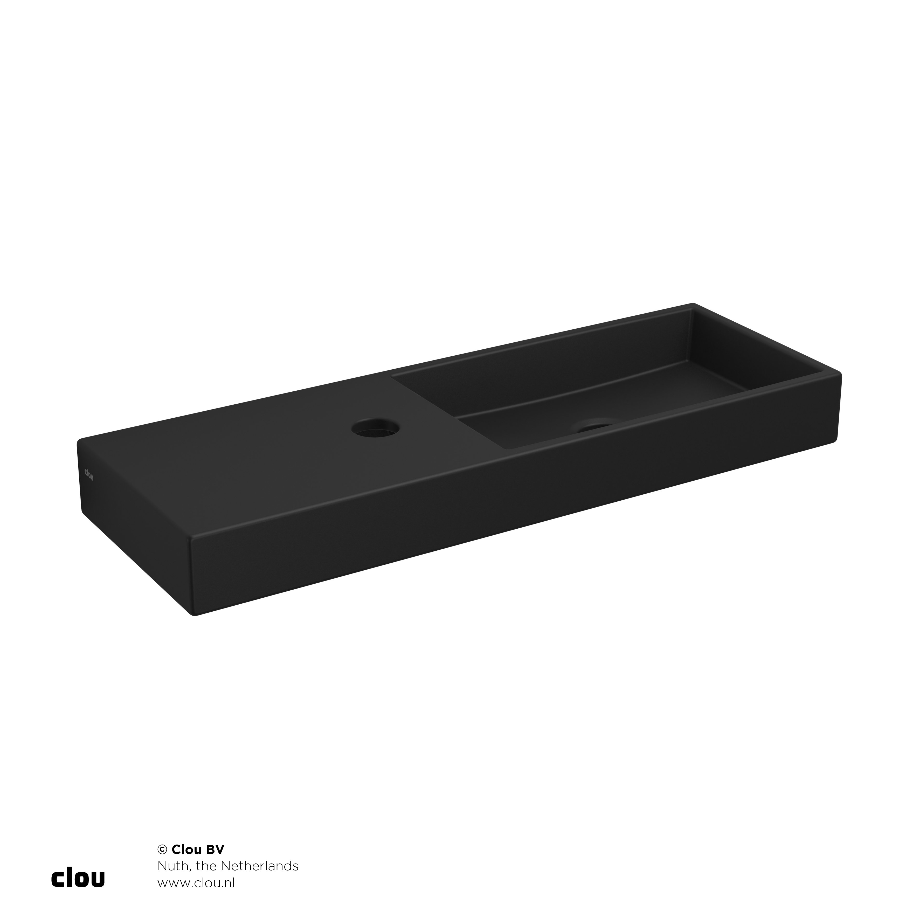 Clou Mini Wash Me fontein 56cm, met kraangat links, mat zwart