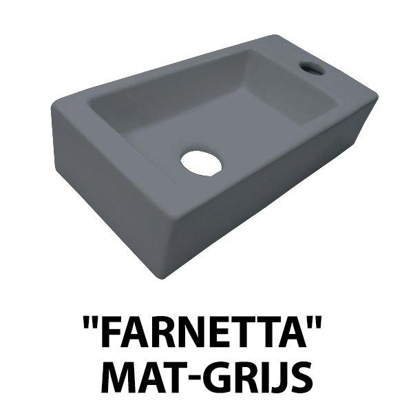Best Design Farnette fontein rechts met kraangat 37x18cm mat grijs
