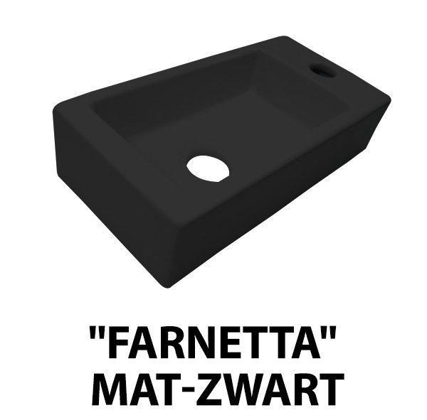 Best Design Farnette fontein rechts met kraangat 37x18cm mat zwart