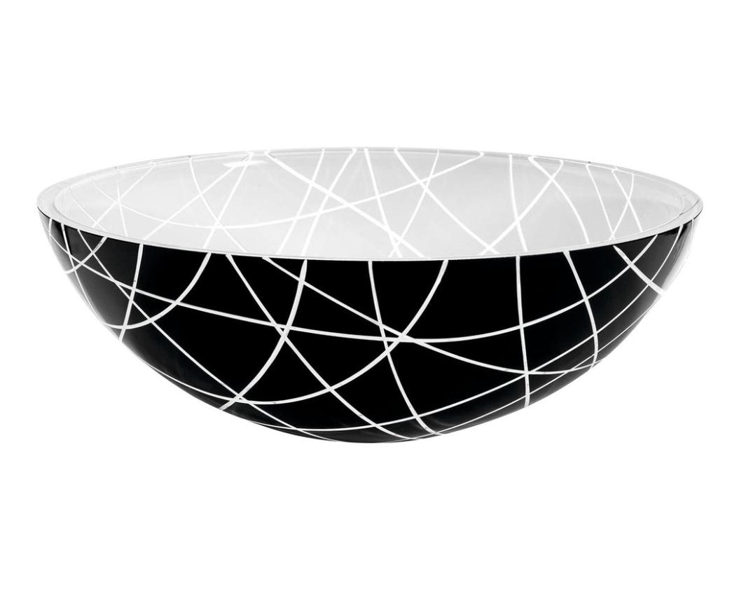 Sapho Murano Line glas waskom diameter 40 cm zwart/wit