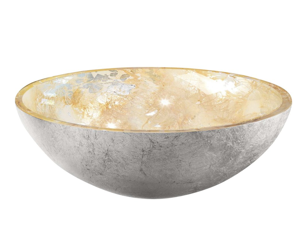 Sapho Murano Anima glas waskom diameter 40 cm zilver/goud