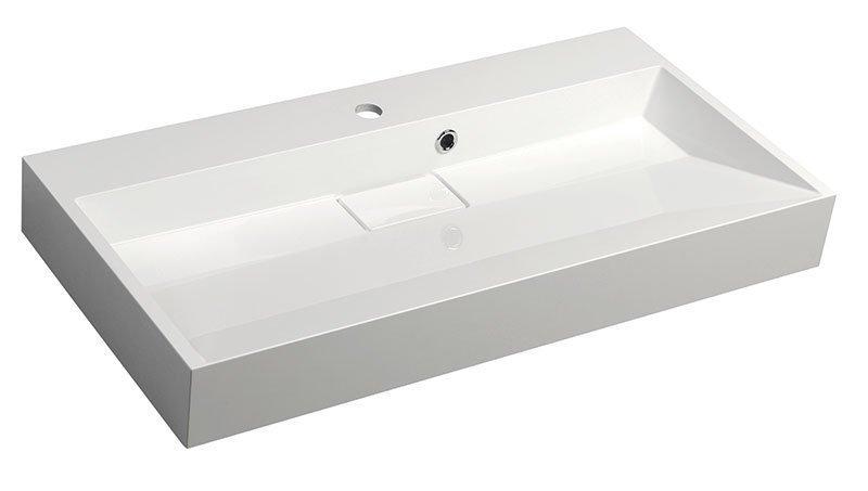 AMUR wastafel kunstmarmer 90x9x46cm, wit