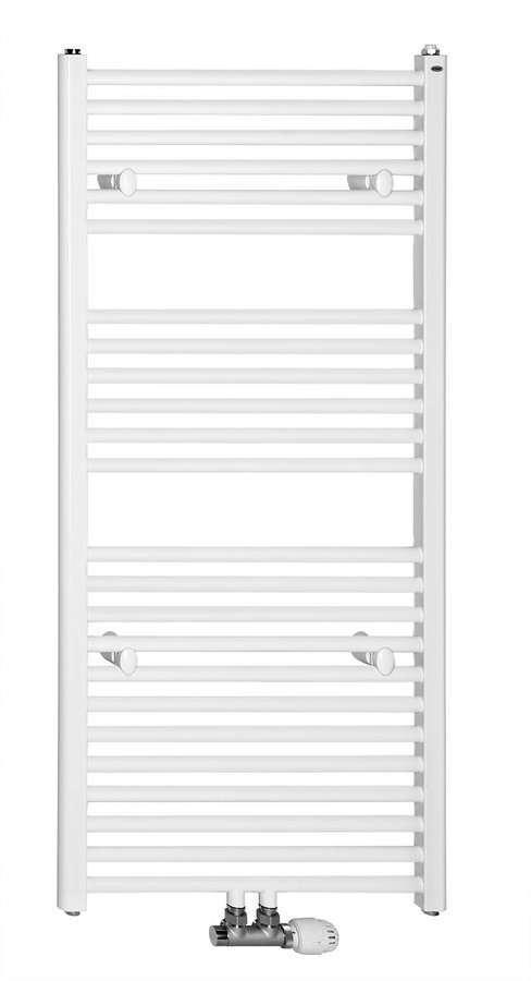 Rechte badkamerradiator, middenaansluiting, 60x170 cm, wit