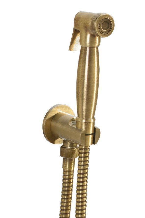 Bidetspuit, klassiek, slang en handdouchehouder met douche-aansluiting, brons