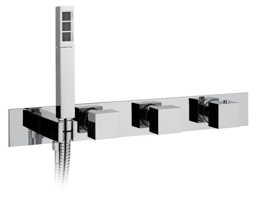 Inbouwmengkraan met handdouchehouder/ingang, 2 uitgangen, vierkant/chroom