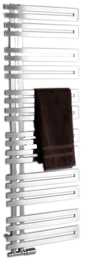 VOLGA Handdoekradiator badkamer 50x125 cm, geborsteld RVS