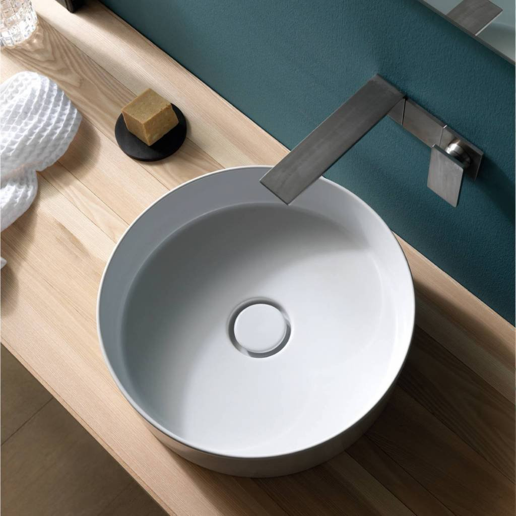 Salenzi Hide opbouw waskom Circle 40cm Mat Wit (incl. bijpassende clickwaste)