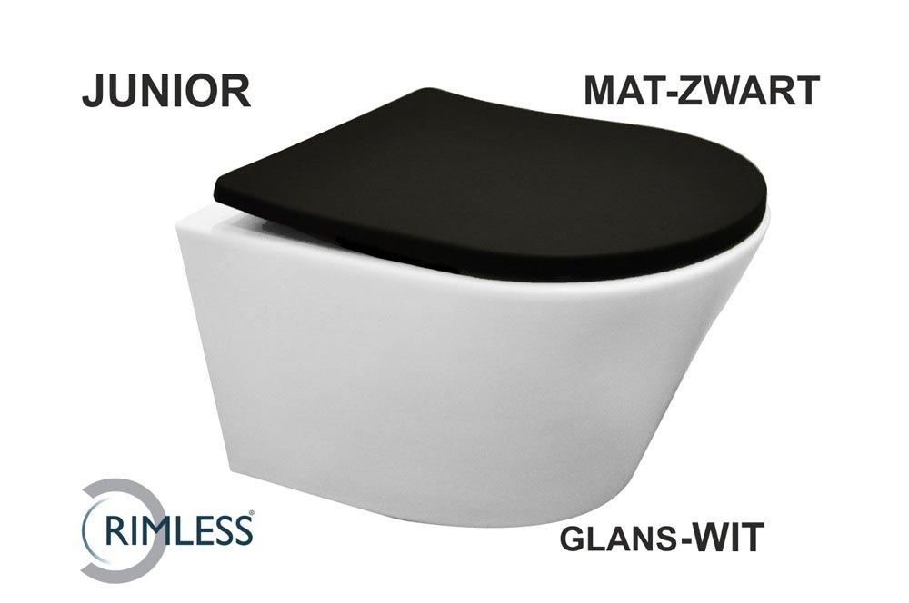 Wiesbaden Vesta rimless Wit wandcloset + Slim Softclose Zitting Mat Zwart