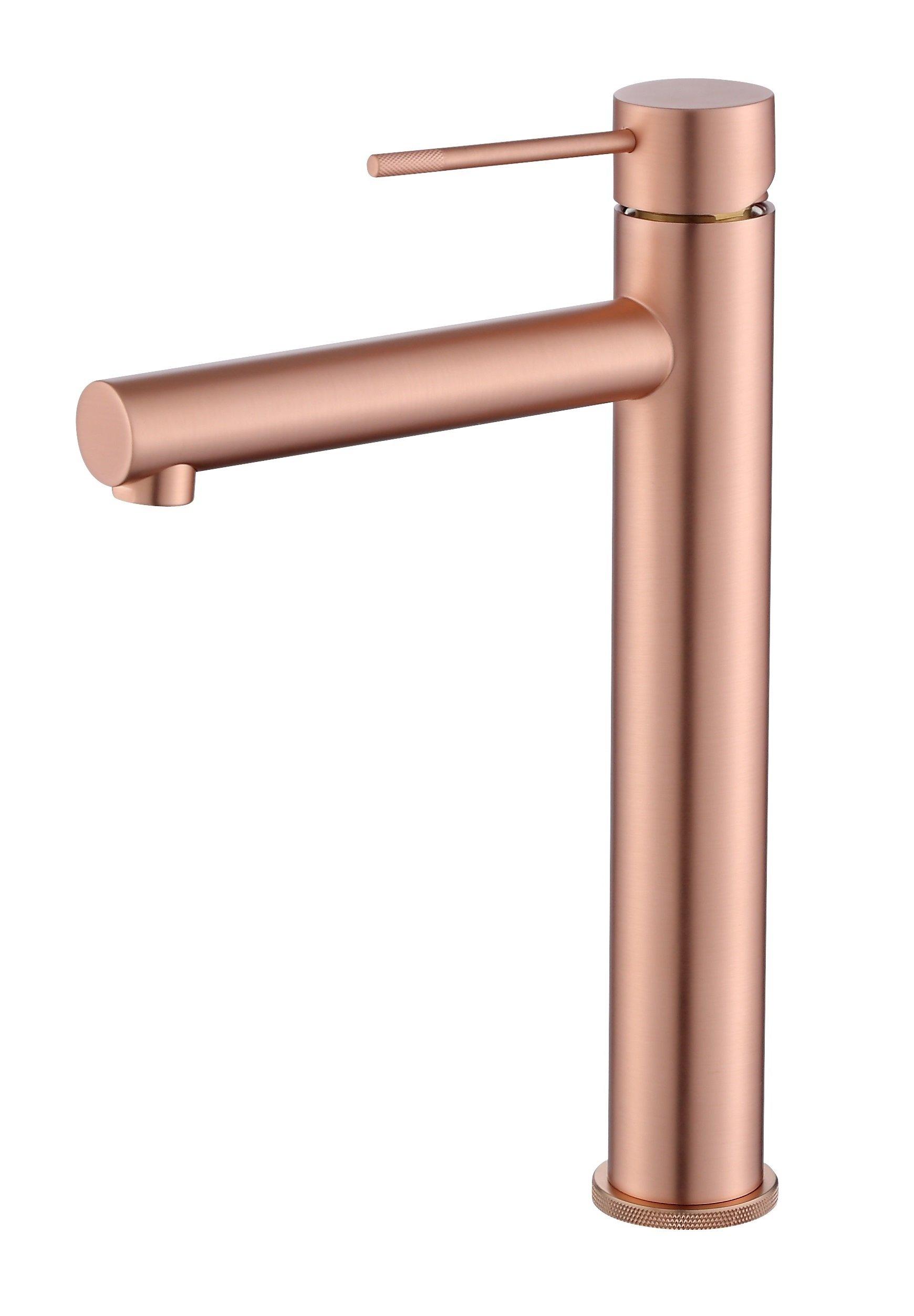 Best Design Lyon hoge wastafel mengkraan 30 cm rose mat goud