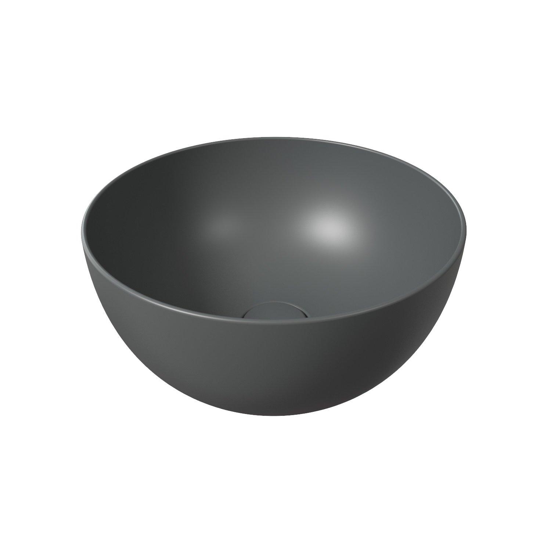 Salenzi Unica ronde waskom opbouw 40x20 cm mat antraciet (inclusief bijpassende clickwaste)