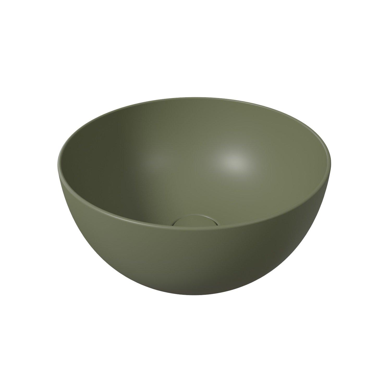 Salenzi Unica ronde waskom opbouw 40x20 cm mat legergroen (inclusief bijpassende clickwaste)