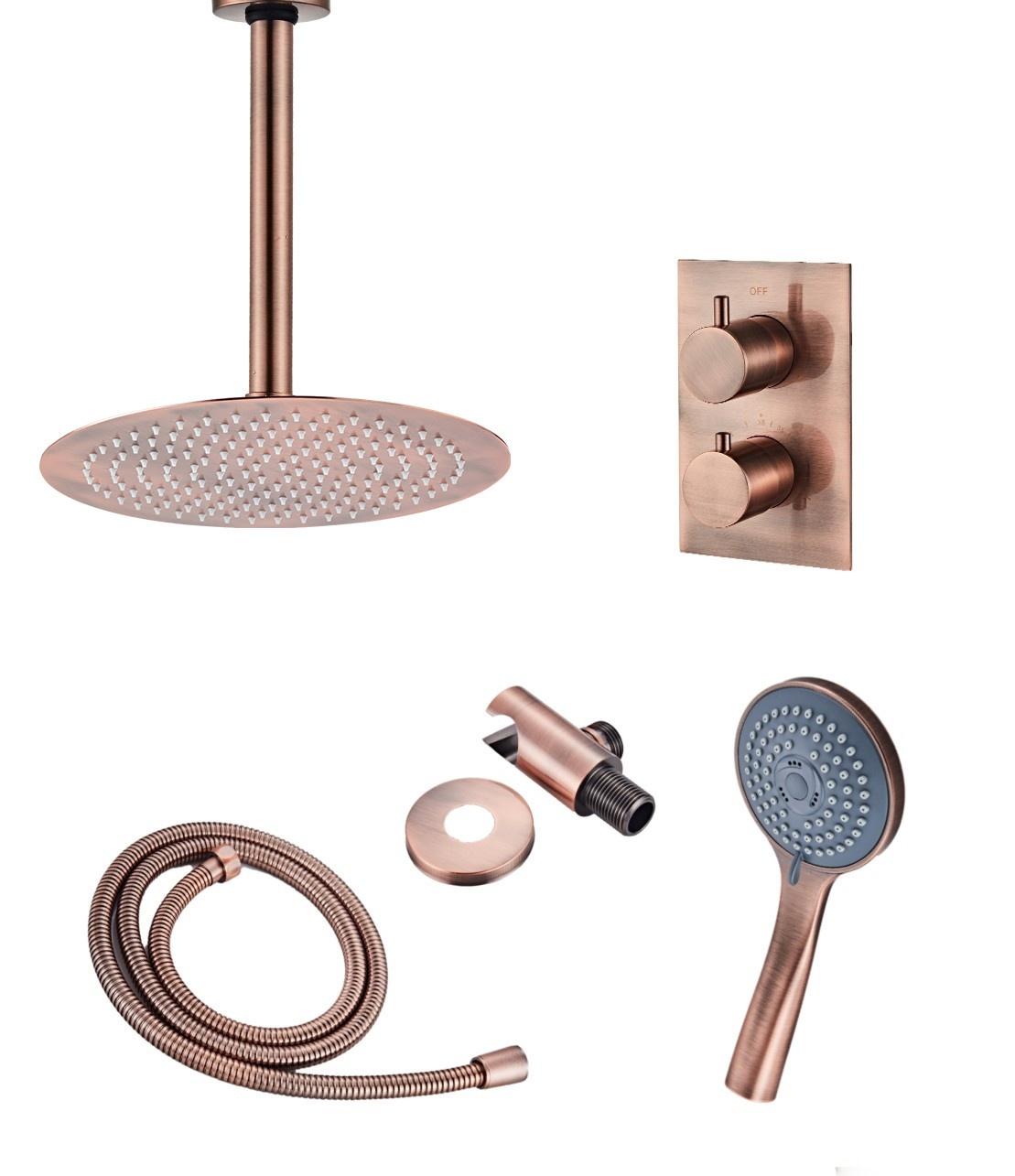 Saniclear Copper inbouw regendouche met plafondarm hoofddouche en 3 standen handdouche 20cm geborsteld koper