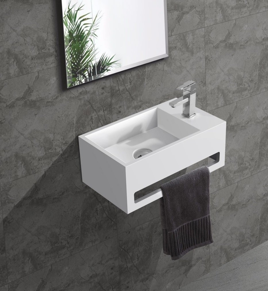 Saniclear Bali solid surface fontein rechts 36x20cm mat wit