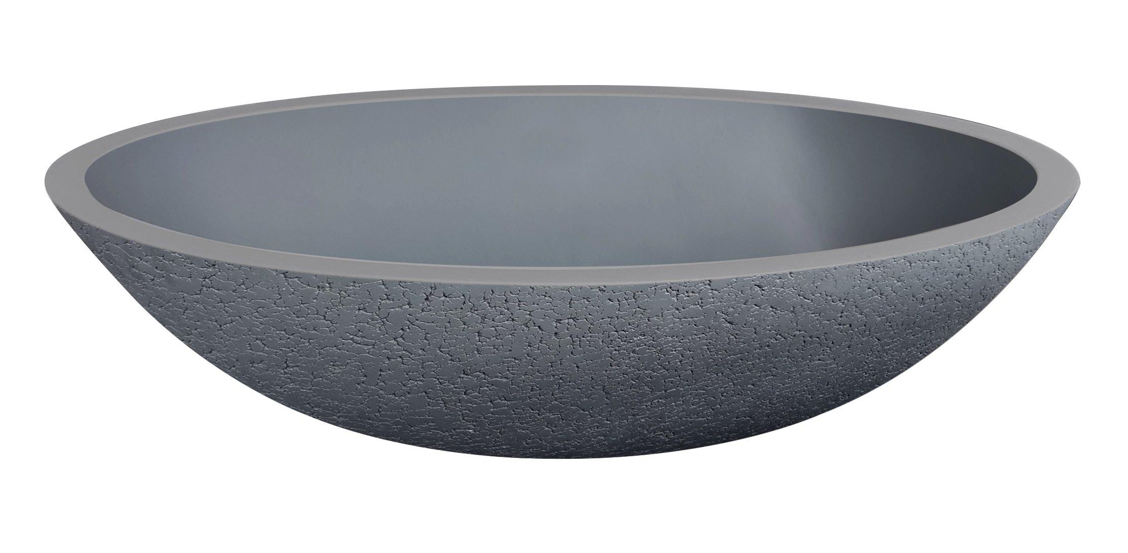 Best Design Craquele waskom ovaal Just Solid 52 cm Lava grijs