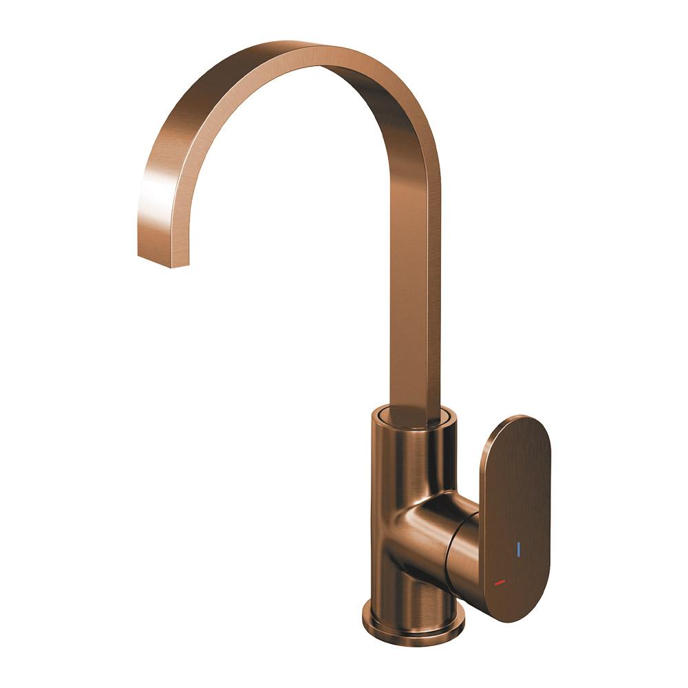 Brauer Copper Edition wastafelmengkraan hoog draaibare uitloop energy-saving koperkleur