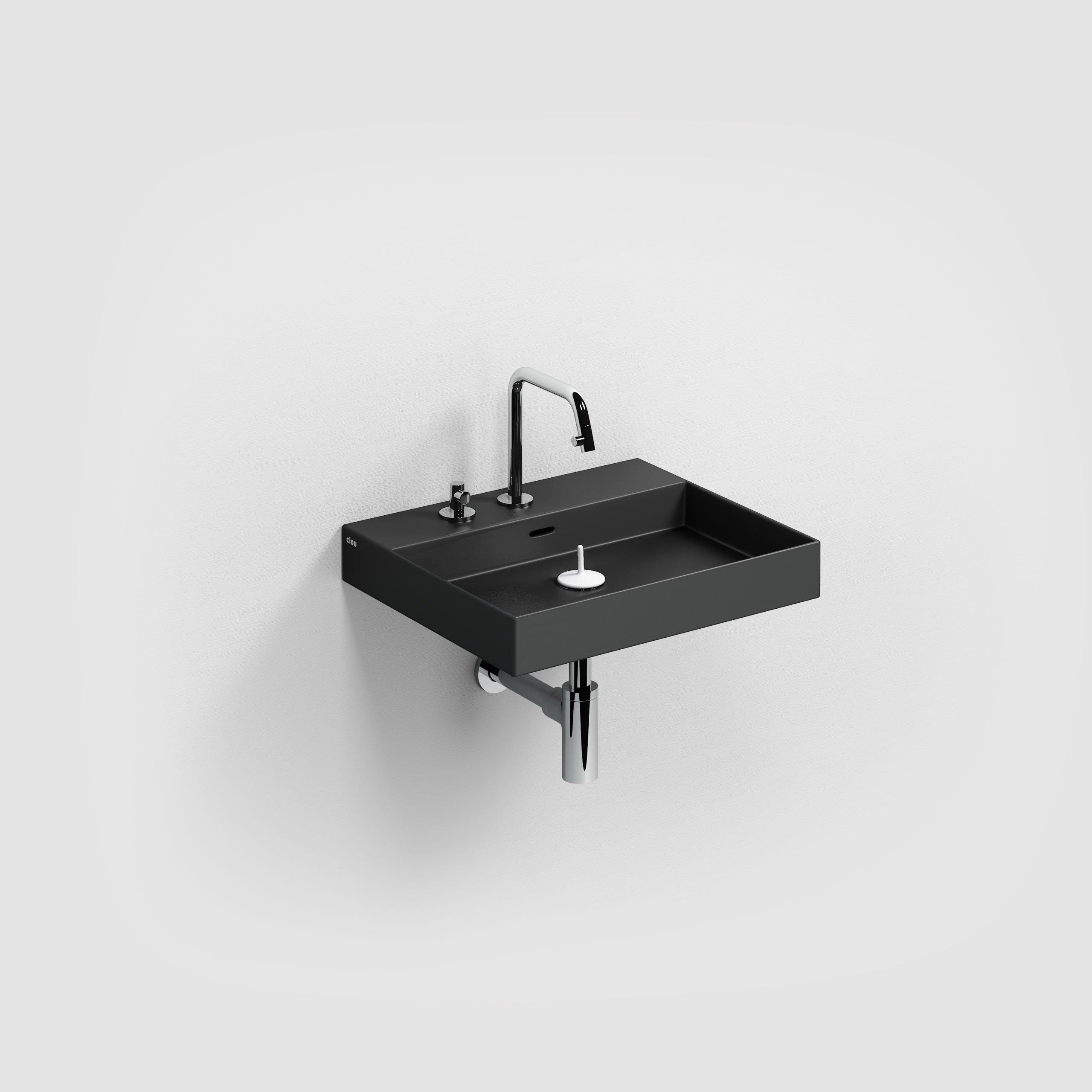 Clou New Wash Me wastafel 50cm, zonder plug, mat zwart keramiek