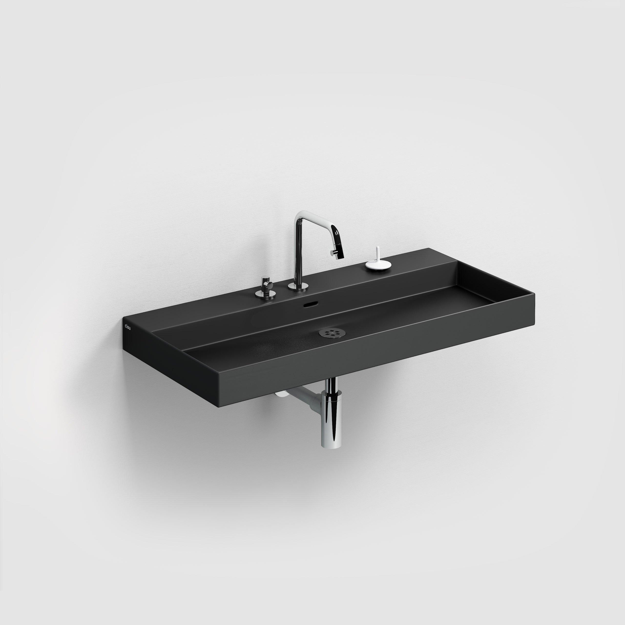 Clou New Wash Me wastafel 90cm, zonder plug, mat zwart keramiek