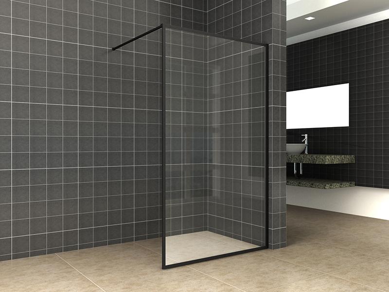 Wiesbaden Square inloopdouche 80x200 mat zwart