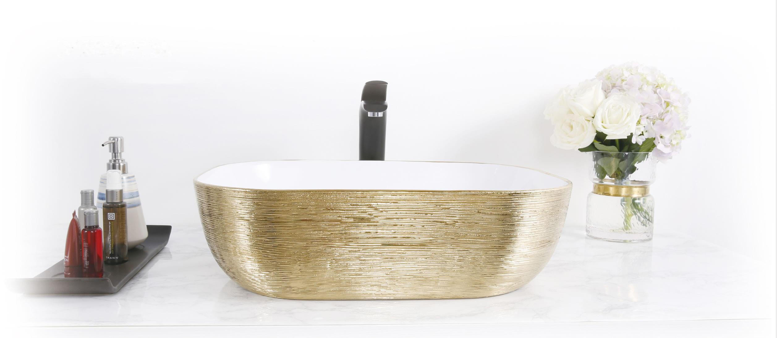 Dateg Star&Art Nano waskom 44,5X32 geborsteld goud wit