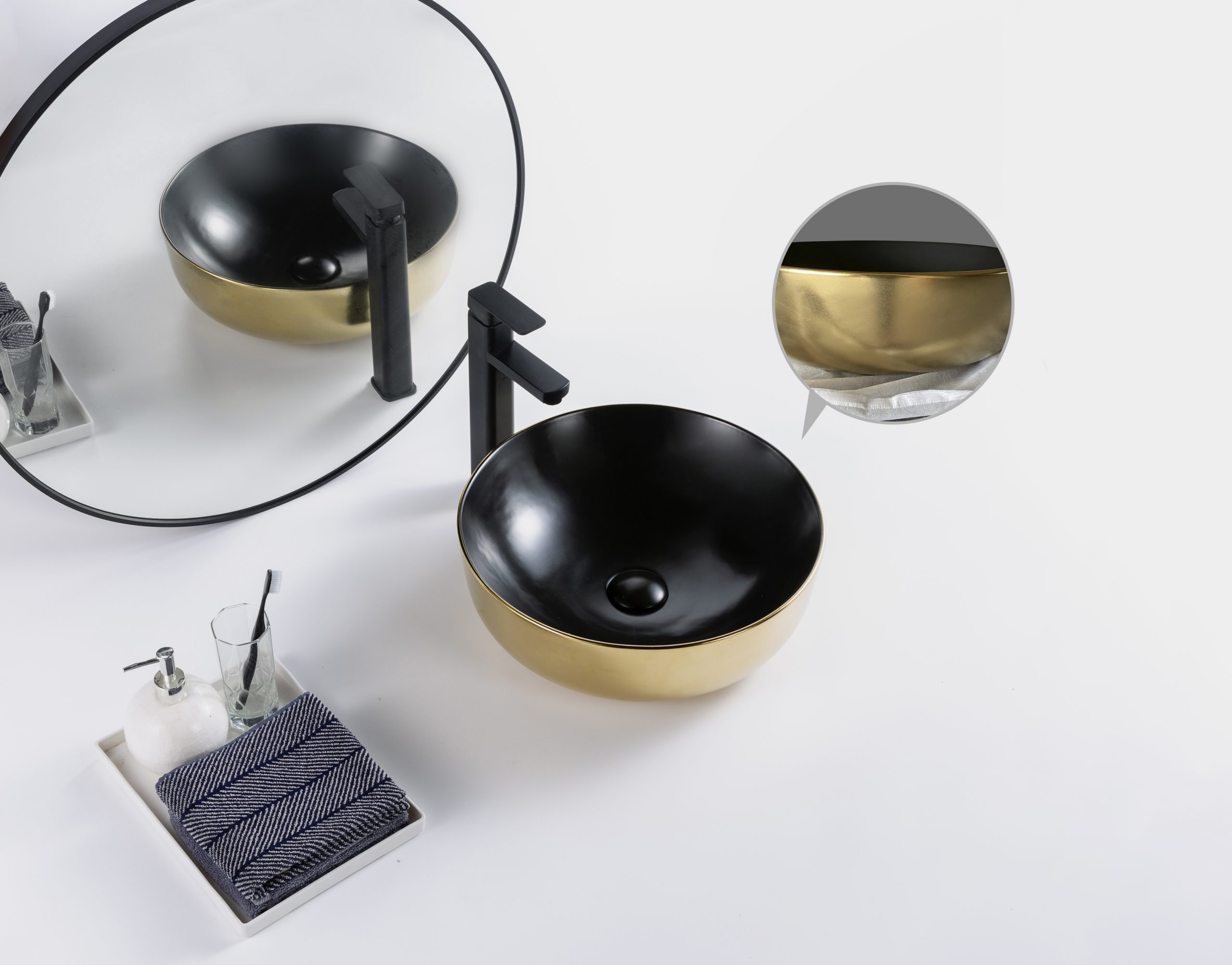 Dateg Star&Art Nano waskom 41X41 mat zwart goud