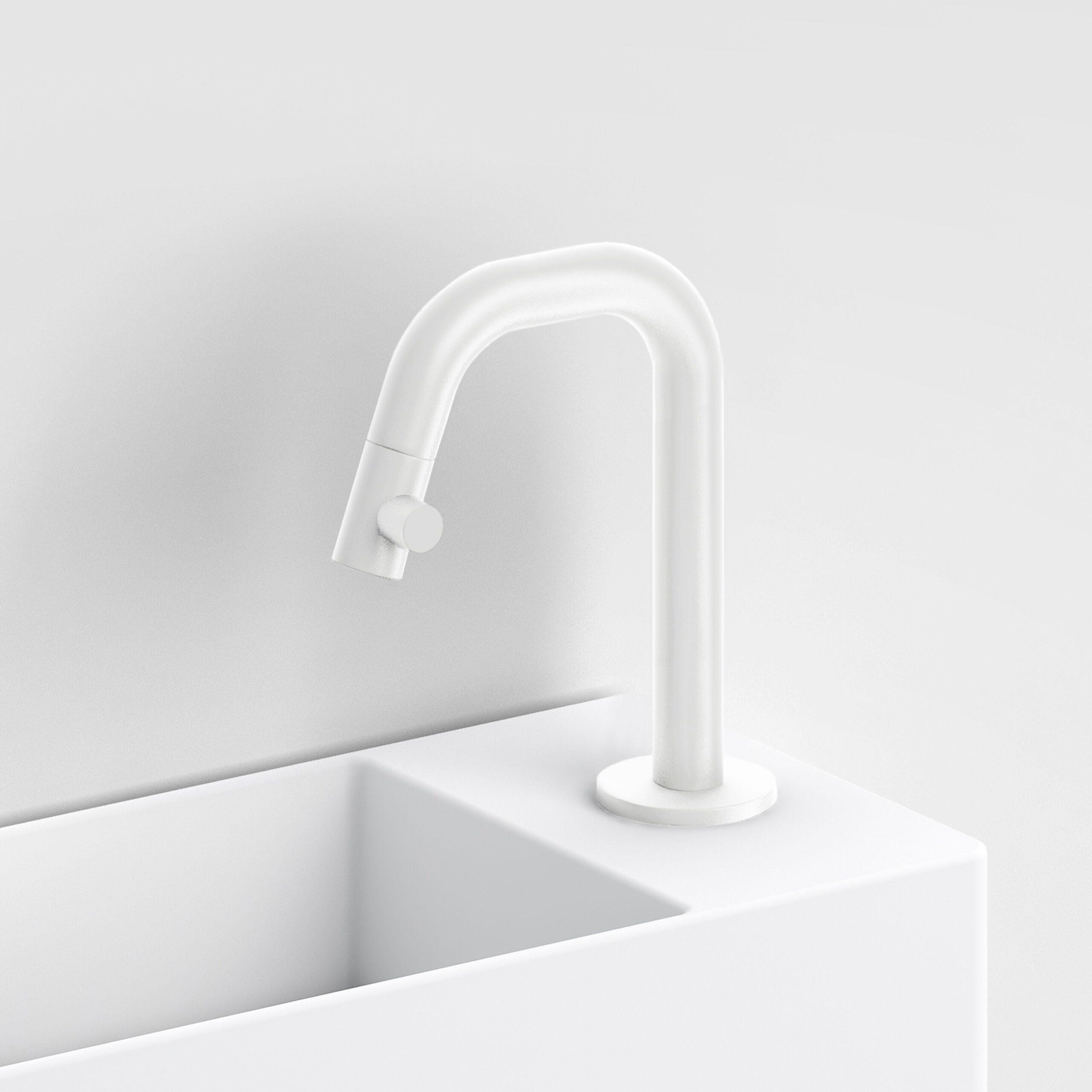 Productafbeelding van Clou Kaldur fonteinkraan met korte uitloop, rechts, mat wit