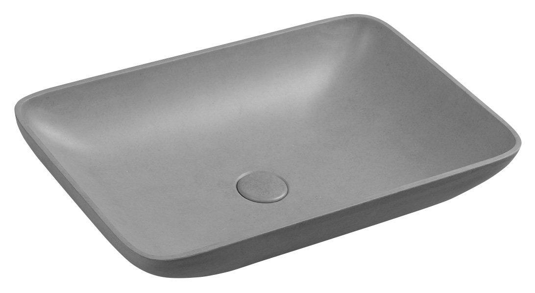 Sapho Infrane betonnen wastafel 57x37 gestroomd grijs