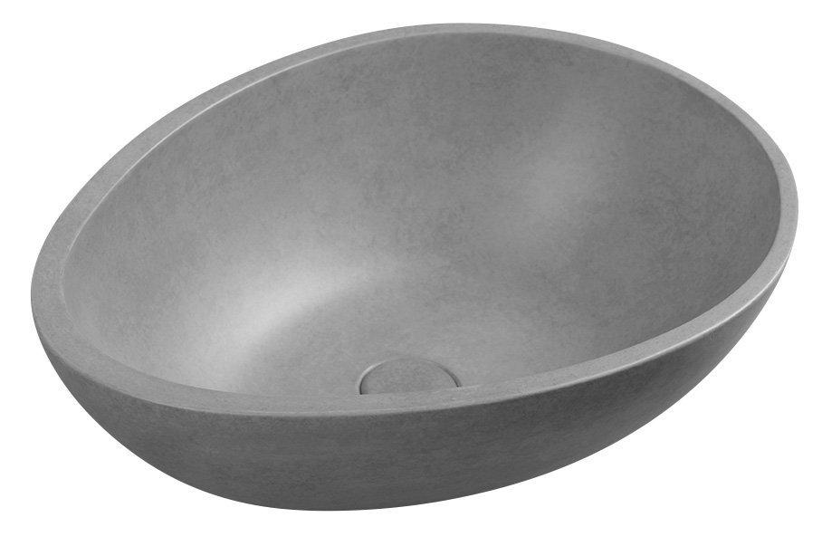 Sapho Punc betonnen wastafel 53x39 gestroomd grijs