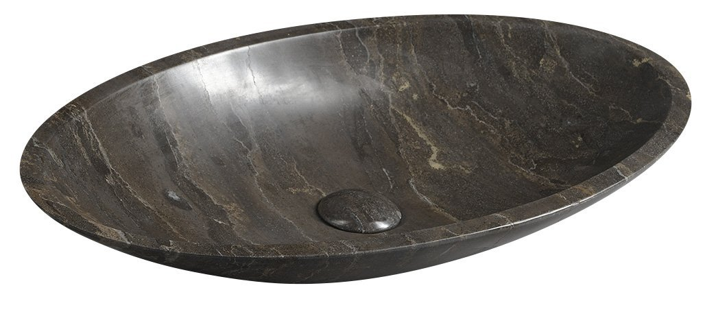 Sapho Blok Stone ovale wastafel 60x35 dark stone