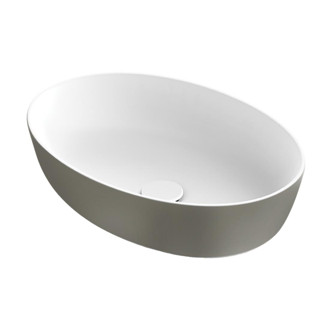 Xenz Neo-E waskom ovaal solid surface wit grijs