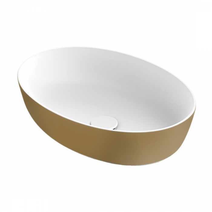 Xenz Neo-E waskom ovaal solid surface wit goud